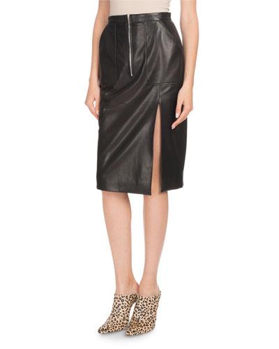 Side-Slit Calf Leather Knee-Length Pencil Skirt