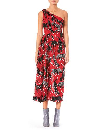 One-Shoulder Wildcat-Print Cocktail Dress