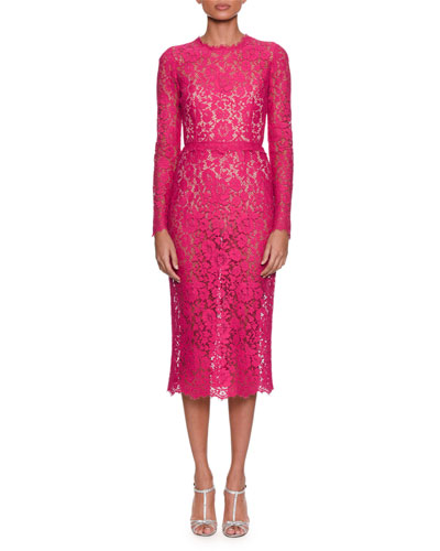Long-Sleeve Jewel-Neck Fitted Lace Midi Dress