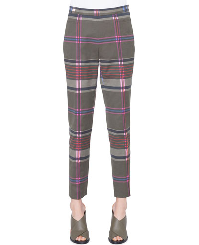 Franca Plaid Stretch-Cotton Side-Zip Straight-Leg Ankle Pants