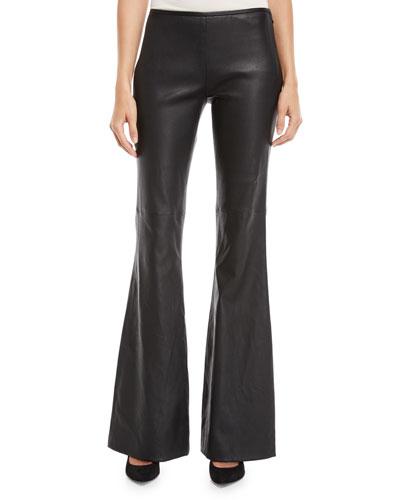 Flared-Leg Plonge Leather Pants