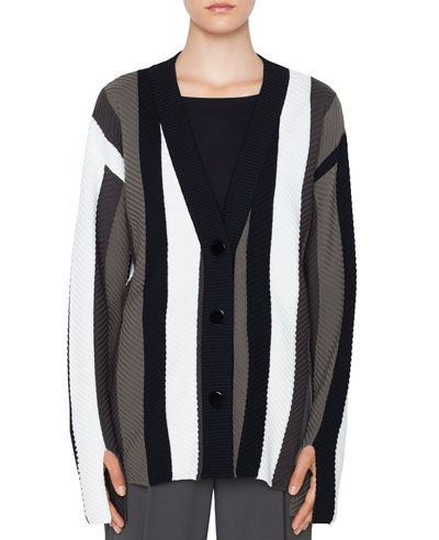 Striped Merino Trumpet-Sleeve Cardigan