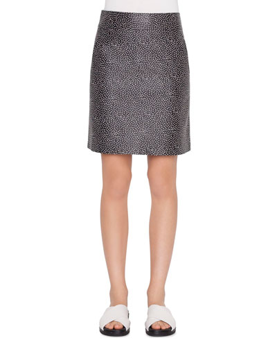 Memphis Pastina Leather A-Line Skirt