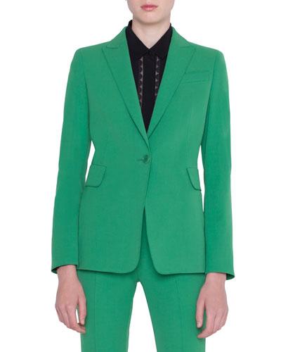 Gabardine One-Button Blazer
