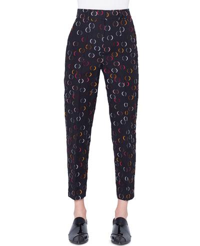 Ferry High-Waist Straight-Leg Cropped Circle-Cut Wire Pants