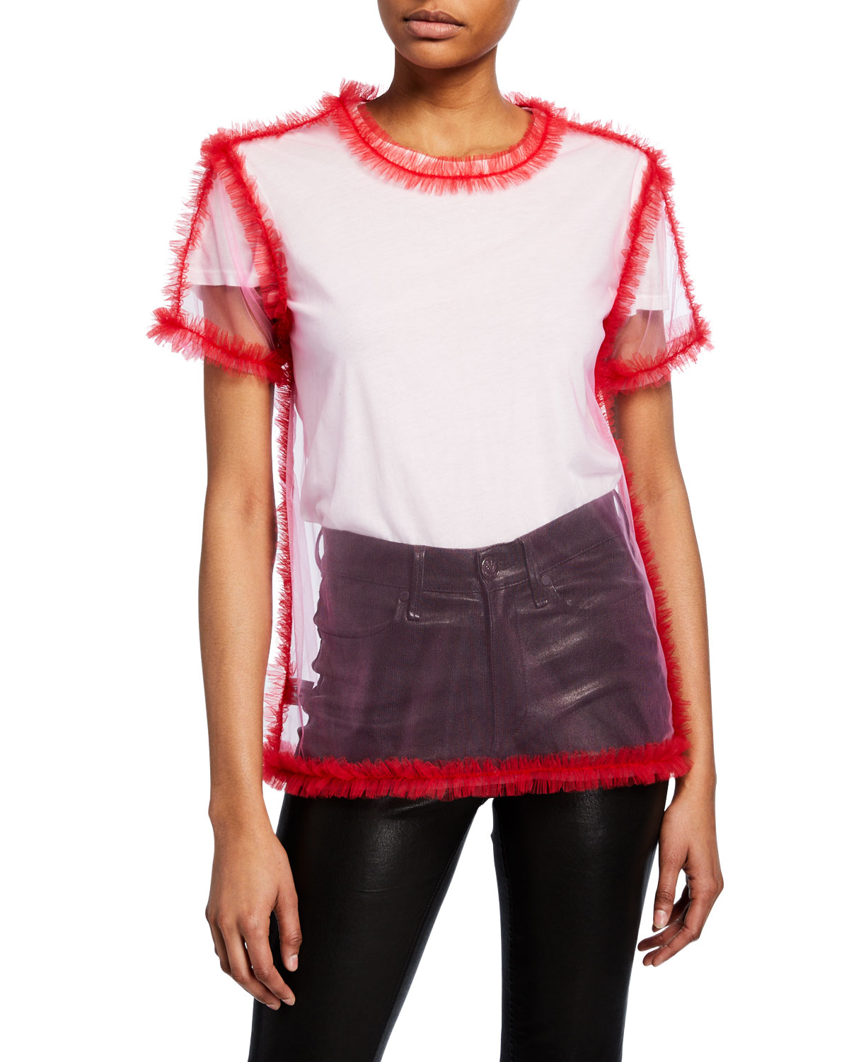 Frilled-Seam Short-Sleeve Tulle Top