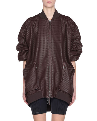 Ruched-Sleeve Perforated-Leather Bomber Jacket