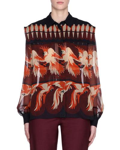 Bird-Print Long-Sleeve Silk Georgette Blouse
