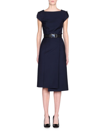 Cap-Sleeve Belted Foldover Pencil Dress