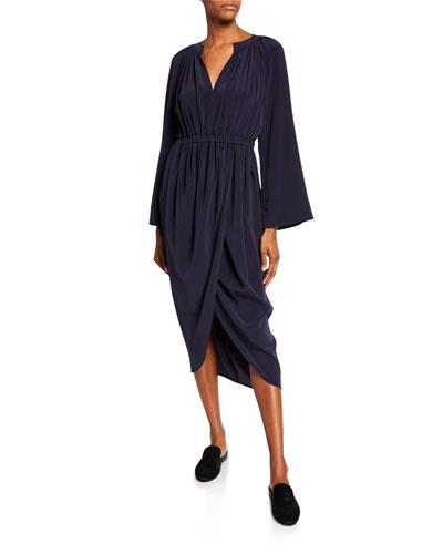 Long-Sleeve Tulip-Skirt Midi Dress