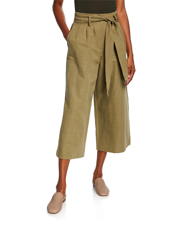 Co Pants TIE-WAIST WIDE LEG CROPPED PANTS