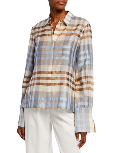 Wool/Silk Plaid Button Front Shirt
