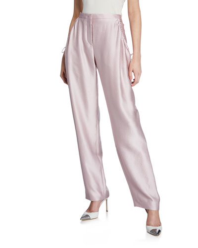 Silk Satin Seersucker Pants