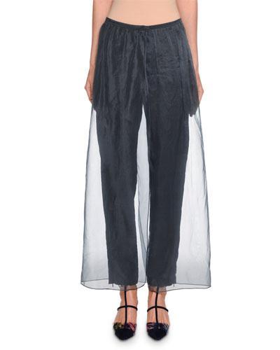 Silk-Trim Silk Pants w/ Organza Overlay