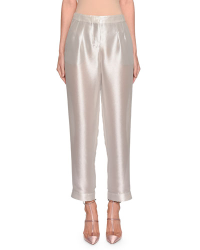 Shimmer Silk Pleated Pants