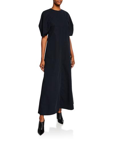 Bubble-Sleeve Twill Maxi Dress