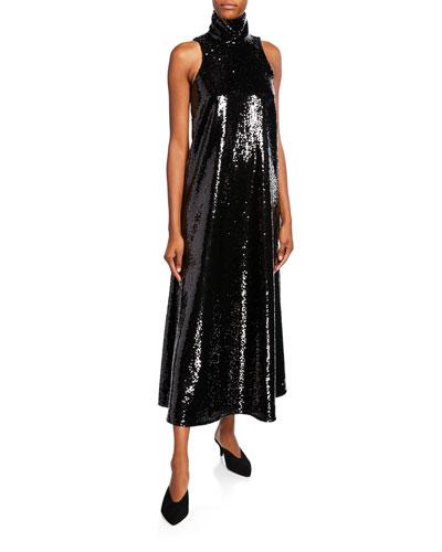 Sequined Halter-Neck Cocktail Dress