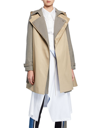 91183fba965b Checkered Double-Layered Trench Coat