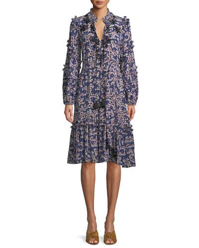 Tie-Neck Long-Sleeve A-Line Floral-Print Knee-Length Dress