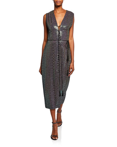 Embellished Silk Midi Dress
