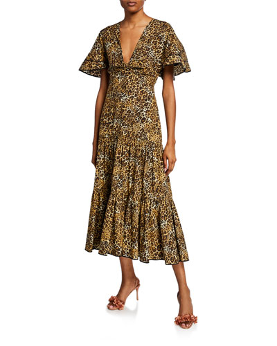 Leopard-Print Poplin Short-Sleeve Dress