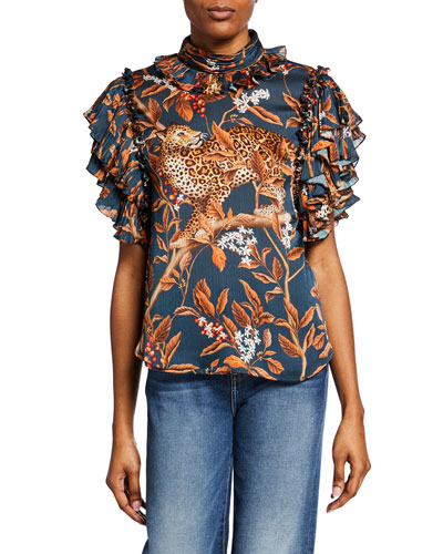 Absurd Beauty Jaguar-Print Georgette Short-Sleeve Top