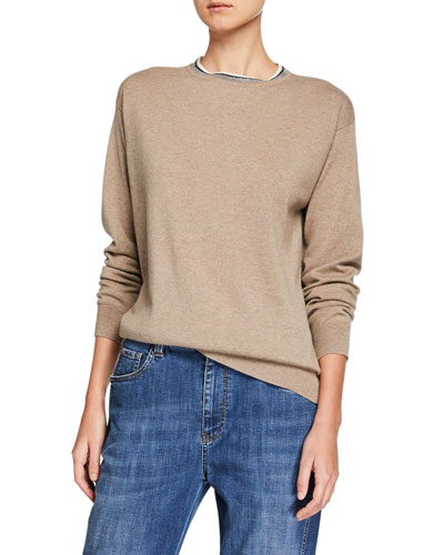 Cashmere Monili-Beaded Crewneck Sweater