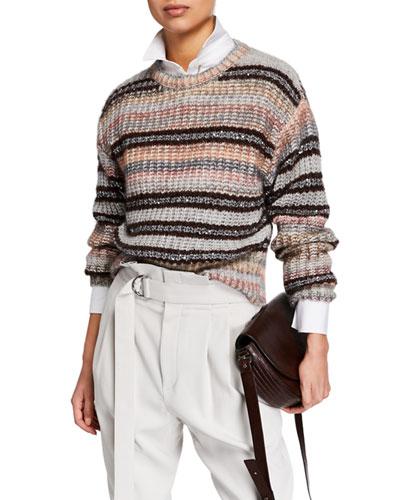 Sequin Striped Crewneck Sweater