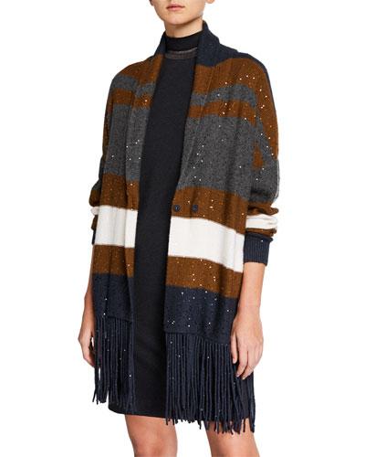 Cashmere-Silk Sequin Striped Fringe Cardigan