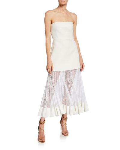 Strapless Pleated Net Skirt Midi Dress