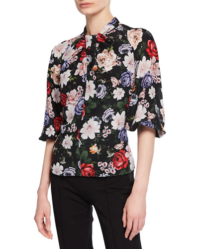 Arlette Twisted Mock-Neck Floral Silk Blouse