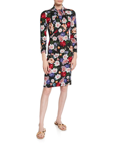 Nicolette 3/4-Sleeve Floral Sheath Dress