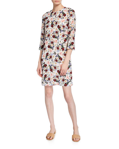 Emma 3/4-Sleeve Floral Sheath Dress