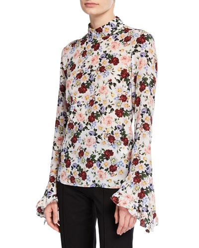 Lindsey Floral Mock-Neck Bell-Sleeve Blouse