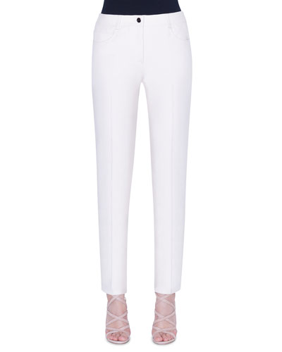 Magda Cotton-Silk Slim-Leg Pants