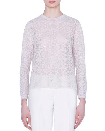 Flower-Embroidered Wool-Silk Sweater