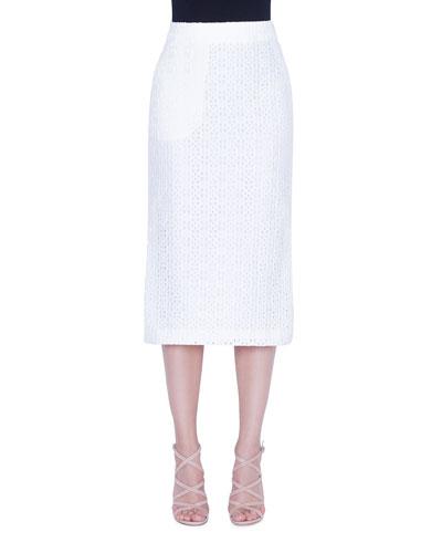 Long Eyelet Pencil Skirt