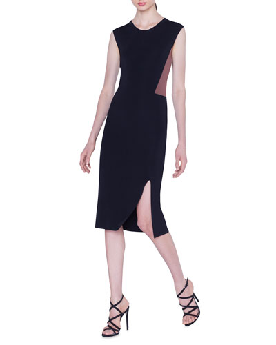 Sleeveless Colorblocked Knit Midi Dress