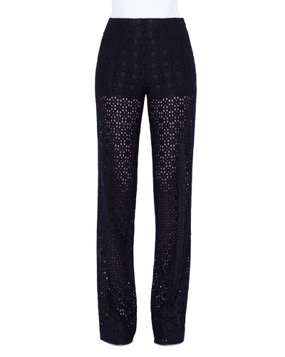 Carla Plaid-Embroidered Straight Leg Pants