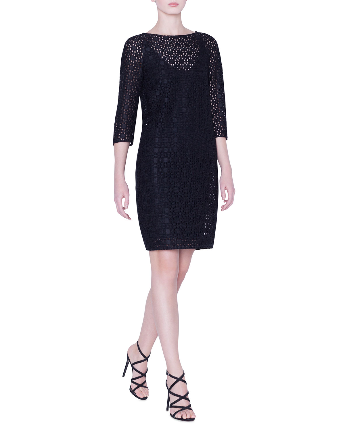 Akris Dresses PLAID-EMBROIDERED 1/2-SLEEVE DRESS