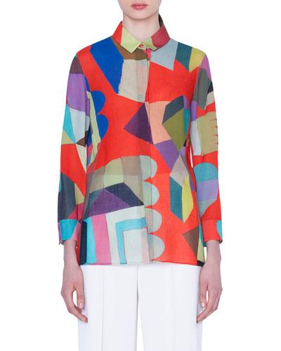 Multipattern Long-Sleeve Blouse