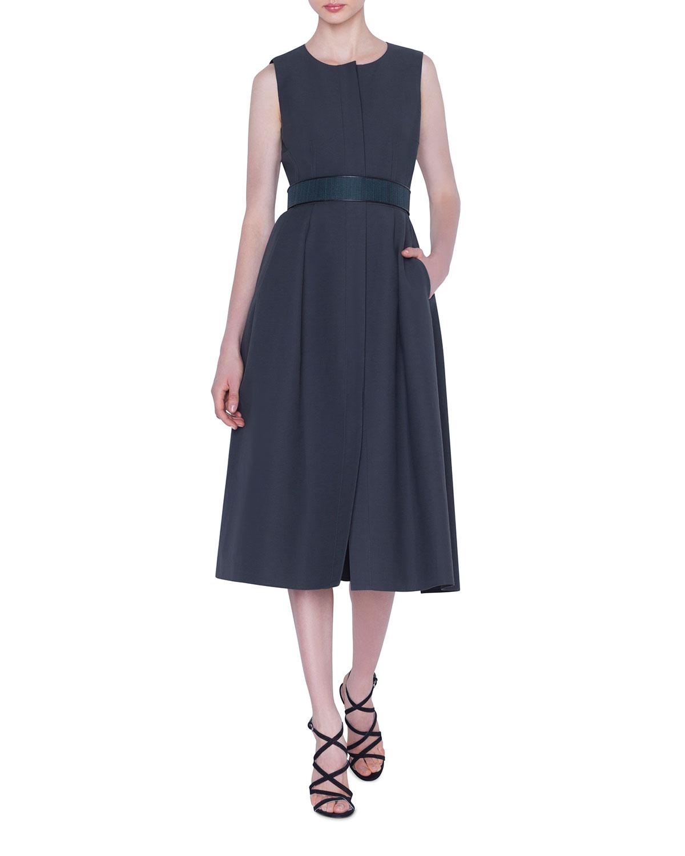 Akris Dresses BUTTON-FRONT BELTED COTTON DRESS