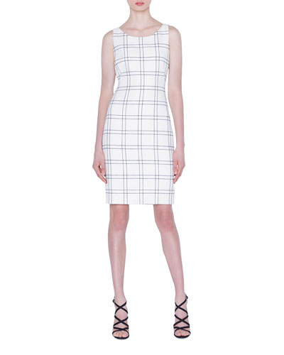Wool/Cotton Double-Face Check Sheath Dress