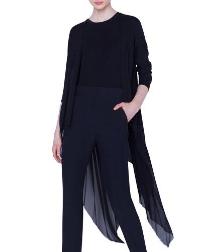 Asymmetric Pleated-Back Cardigan