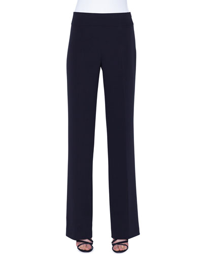 Carla Silk-Crepe Straight-Leg Pants