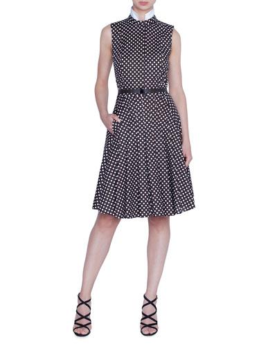 Sleeveless Polka Dot Wool Shirtdress