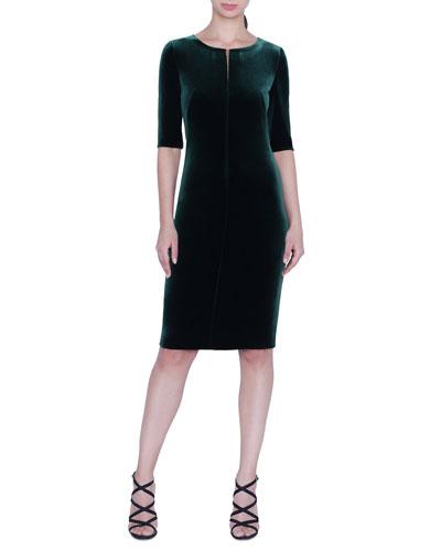 1/2-Sleeve Velvet Sheath Dress