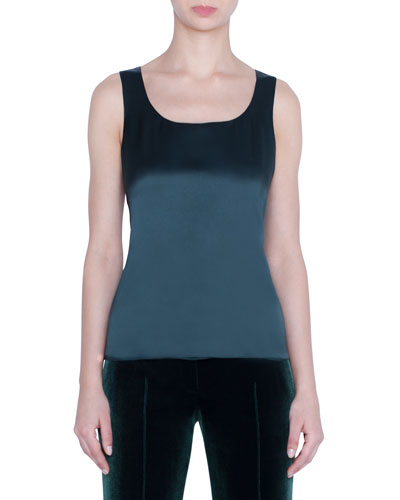 Silk Georgette Scoop-Neck Tank Top