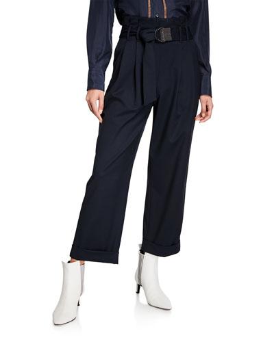 Monili-Belted Wide-Leg Cuffed Pants