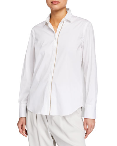 Monili-Placket Regular-Fit Poplin Shirt